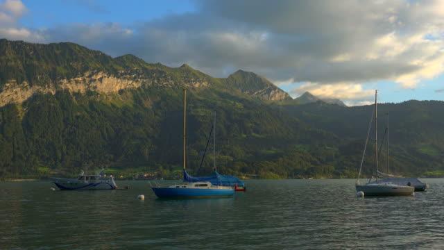 lake thun, bernese alps, switzerland, europe - lake thun stock videos and b-roll footage