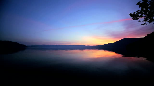 lake towada at dusk - plusphoto stock videos & royalty-free footage