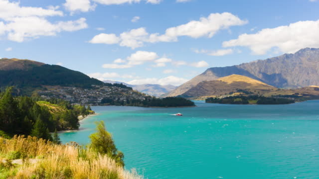 lake wakatipu and queenstown, otago, new zealand - queenstown stock videos & royalty-free footage