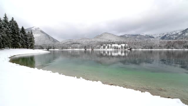 Lake Walchensee in winter, Walchensee, Upper Bavaria, Bavaria, Germany, European Alps