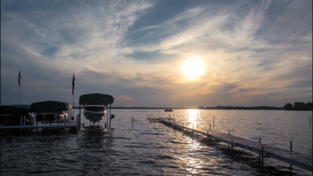 lake wawasee, sunset timelapse - indiana stock videos & royalty-free footage