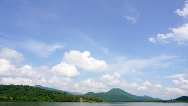 vídeos de stock e filmes b-roll de lake with blue sky and moving clouds, time lapse - árvore tropical