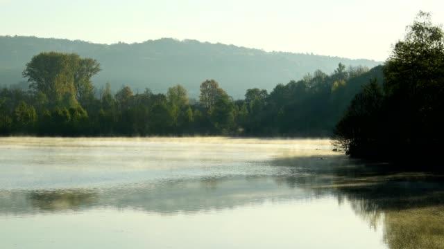 lake with morning haze in spring, freudenberg, baden-wurttemberg, germany - north rhine westphalia stock videos & royalty-free footage