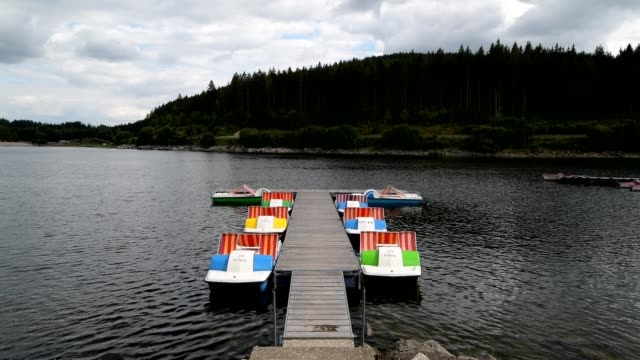 lake with pedal boat on jetty in summer, lake schluchsee, seebrugg, black forest, baden württemberg, germany - pedal boat stock videos and b-roll footage
