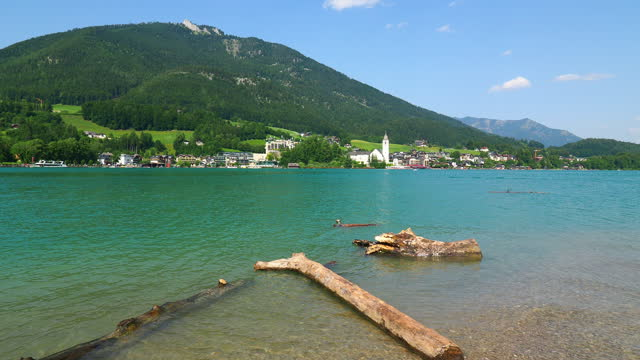 lake wolfgangsee, austria, in summer - traditionally austrian stock videos & royalty-free footage