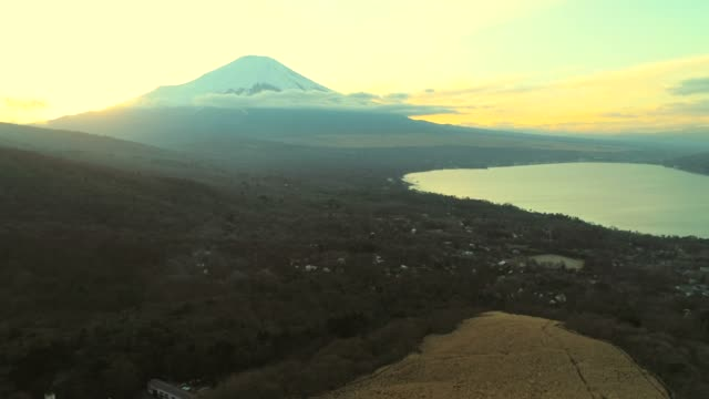 Lake Yamanaka and Mt Fuji at dusk