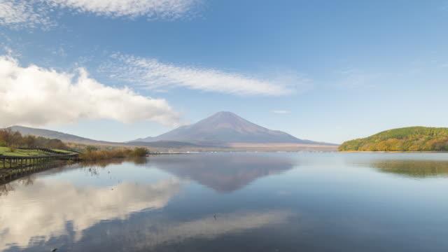 lake yamanakako with mt.fuji in the morning time lapse - ridge stock videos & royalty-free footage