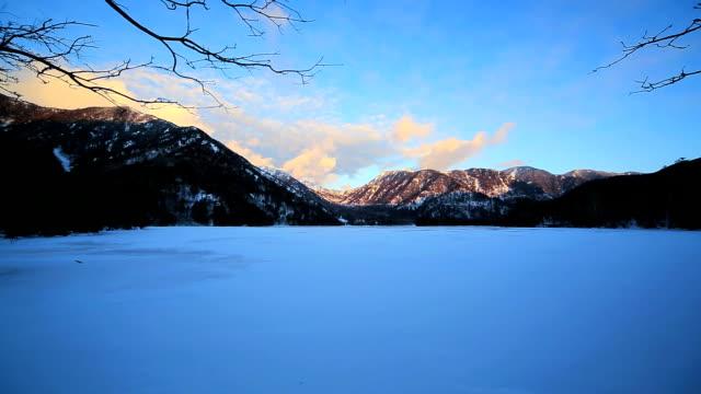 lake yuno (yunoko) in winter - satoyama scenery stock videos & royalty-free footage