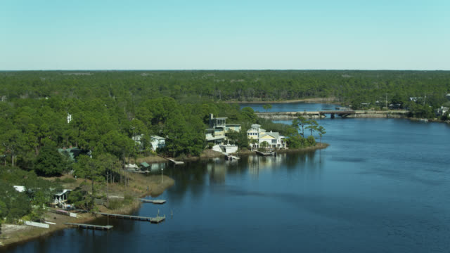 lakefront houses on eastern lake at seagrove beach, florida - aerial - gulf of mexico stock videos & royalty-free footage