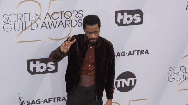 lakeith stanfield at the 25th annual screen actors guild awards at the shrine auditorium on january 27 2019 in los angeles california - screen actors guild awards stock videos & royalty-free footage