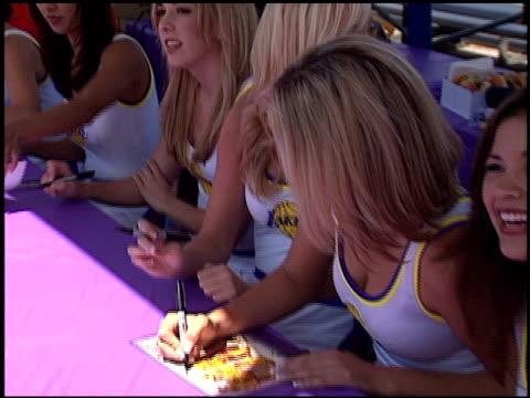 laker girls at the shaqtacular vii at barker hanger in santa monica california on september 21 2002 - チアリーダー点の映像素材/bロール