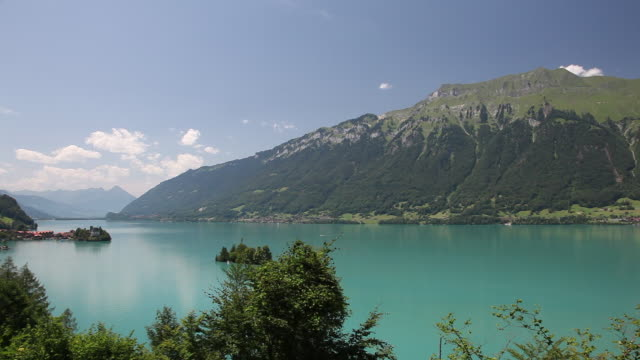 lakes brienz and thun, with surrounding mountains - lake thun stock videos and b-roll footage