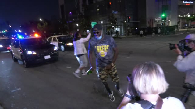 lakes fans celebrate outside staples center following the lakers' game 6 win that clinched the franchise's record-tying 17th championship, in los... - playoffs stock videos & royalty-free footage