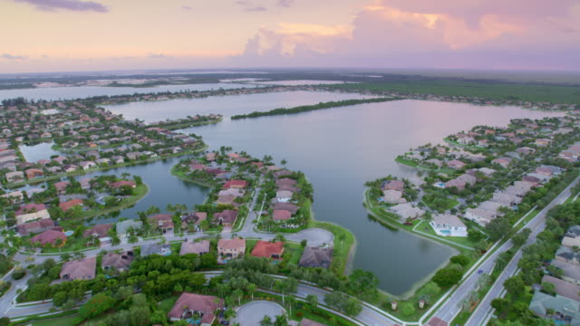 aerial lakes in miami, florida at sunset - standing water stock videos & royalty-free footage