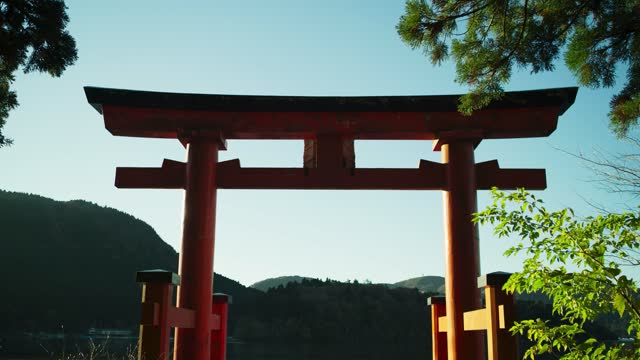 lakeside structure near mt fuji, japan - tradition stock videos & royalty-free footage