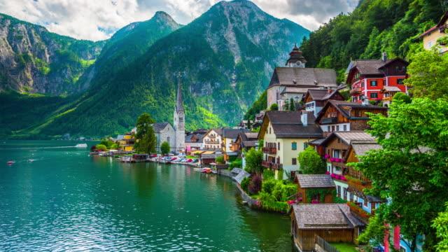 lakeside village of hallstatt in austria - salzkammergut stock videos and b-roll footage