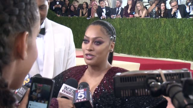interview lala anthony talks about being at themet gala and the experience at manus x machina fashion in an age of technology costume institute... - manus x machina: fashion in an age of technology stock videos and b-roll footage