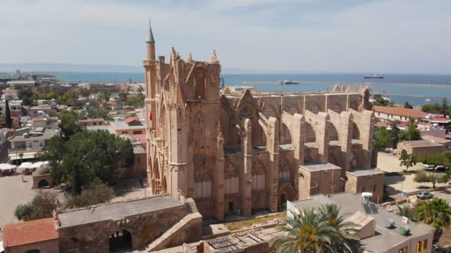 lala mustafa pasha mosque (cathedral of saint nicholas) in gazi magosa (famagusta), cyprus - republic of cyprus stock videos & royalty-free footage