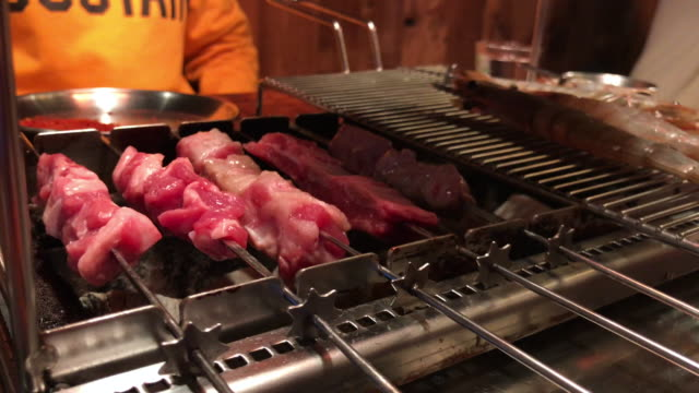 lamb stick bbq grill - south korea stock videos & royalty-free footage