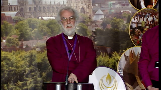 archbishop rowan williams press conference more of archbishop rowan williams question and answer session sot on whether moratorium should have time... - lambeth stock videos & royalty-free footage