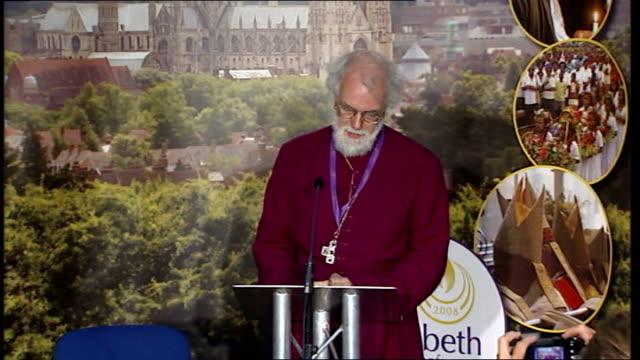 archbishop rowan williams press conference england kent canterbury university of kent photography * * archbishop phillip aspinall introducing... - lambeth stock videos & royalty-free footage