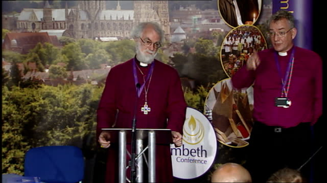 lambeth conference 2008: archbishop rowan williams press conference; archbishop rowan williams question and answer session sot - covenant not meant... - 証書点の映像素材/bロール