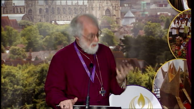lambeth conference 2008: archbishop rowan williams press conference; more of archbishop rowan williams question and answer session sot - on north... - anglican stock videos & royalty-free footage