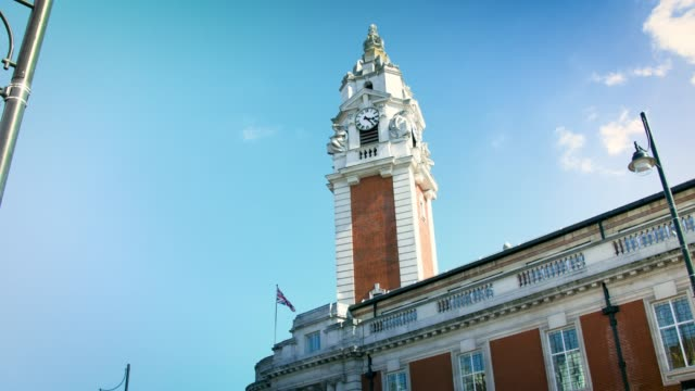 stockvideo's en b-roll-footage met lambeth town hall on a sunny day - town hall
