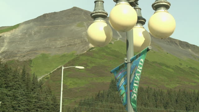 """""""lampost banner with """"""""seward"""""""" and salmon design, rounded white lamps and green mountain, 4th avenue, seward, kenai peninsula, alaska"""" - kenai peninsula stock videos & royalty-free footage"""
