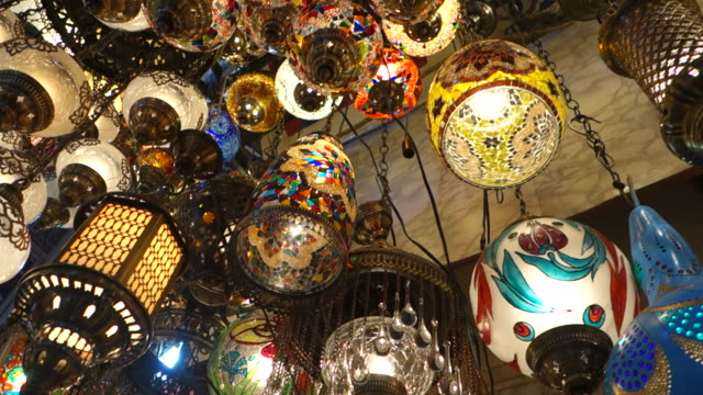 lamps at grand bazaar - istanbul, turkey - lantern stock videos & royalty-free footage