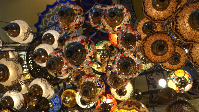 lamps at grand bazaar - istanbul, turkey - grand bazaar istanbul stock videos and b-roll footage