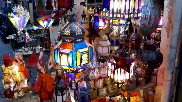 lamps for sale shopping souk jemaa el-fna marrakesh morocco - souk stock videos & royalty-free footage
