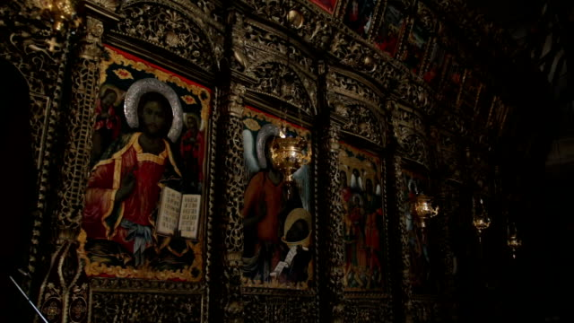 lamps in orthodox church - electric lamp stock videos & royalty-free footage