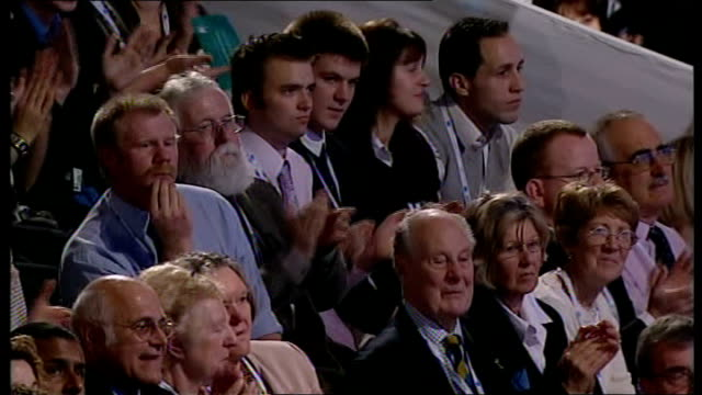 lancashire blackpool photography** david cameron mp along to stage and waving audience standing and applauding cameron waving samatha cameron... - british labour party stock videos & royalty-free footage