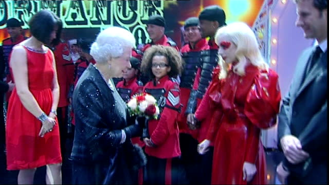 Lancashire Blackpool PHOTOGRAPHY** Queen Elizabeth II meeting Lady Gaga backstage at Royal Variety Performance