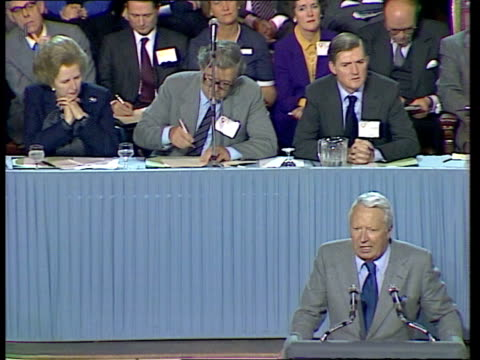 stockvideo's en b-roll-footage met lancashire blackpool int ms/cms/ edward heath on podium ms edward heathsof quotplease don't applaud cms thatcher watching ms delegates clap ms... - 1981