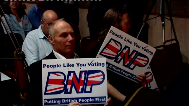 lancashire: blackpool: int various of bnp members seated in conference room for victory rally - lancashire stock videos & royalty-free footage