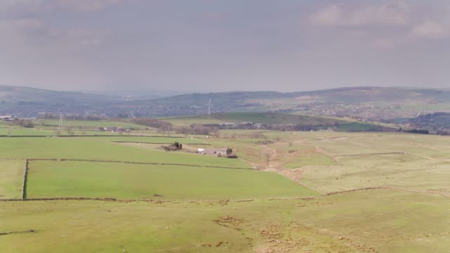 lancashire farmland - drone shot looking towards nelson and burnley - lancashire stock videos and b-roll footage