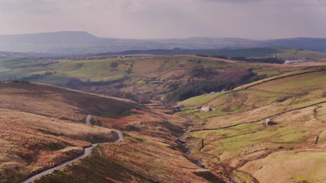 lancashire moorland near burnley - drone shot - valley stock videos & royalty-free footage