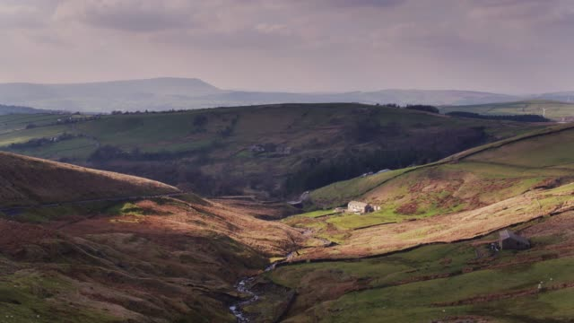 lancashire valley in spring - aerial view - england stock videos & royalty-free footage