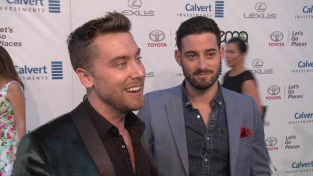 interview lance bass and michael turchin on why it was important for him to support ema and how he supports the environment on a daily basis at the... - lance bass stock videos and b-roll footage