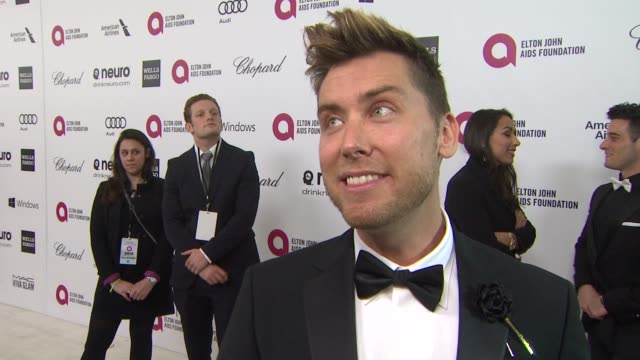 interview lance bass at elton john aids foundation presents 22nd annual academy awards viewing party sponsored by chopard neuro drinks and wells... - lance bass stock videos and b-roll footage