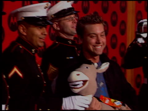lance bass at the motorola party at music box theatre in los angeles california on december 2 2004 - lance bass stock videos and b-roll footage