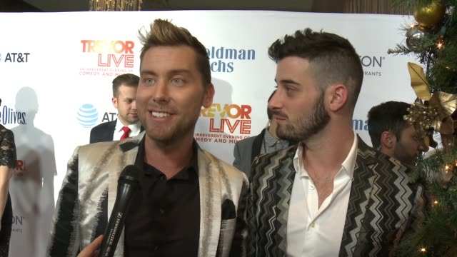 interview lance bass michael turchin on the event at the trevor project's 2016 trevorlive la in los angeles ca - lance bass stock videos and b-roll footage