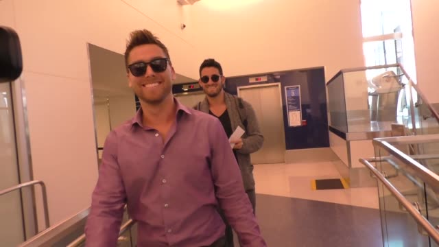 interview lance bass michael turchin talk about what kind of work he would like to do in space at lax airport in los angeles on october 04 2016 in... - lance bass stock videos and b-roll footage