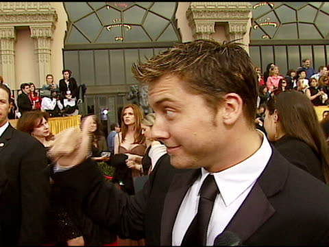 lance bass on having a good time at the show at the 2007 screen actors guild sag awards at the shrine auditorium in los angeles california on january... - lance bass stock videos and b-roll footage
