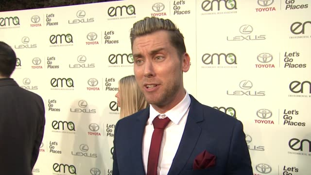 interview lance bass on his long time relationship with the ema on being excited to host tonight's event on his environmental activism at 25th annual... - lance bass stock videos and b-roll footage