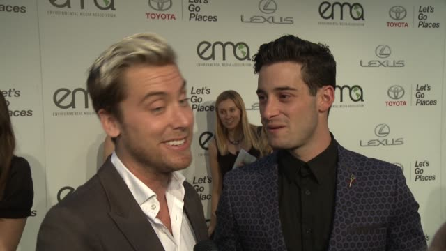 interview lance bass on what makes the ema awards so inspiring his simplest green tips and what he's imparted onto his fiancé at 2014 environmental... - fiancé stock videos and b-roll footage