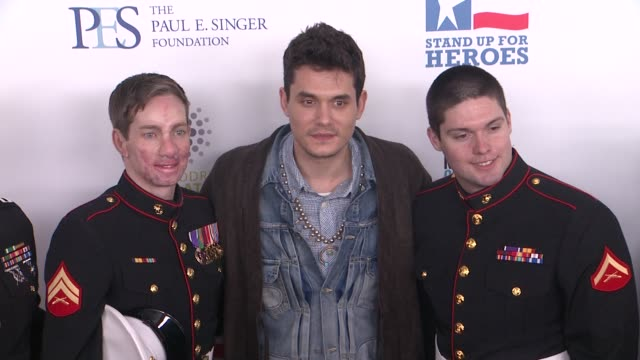 lance cpl michael martinez us marine corps john mayer and cpt aaron mankin at the 6th annual stand up for heroes presented by the new york comedy... - beacon theatre stock videos and b-roll footage