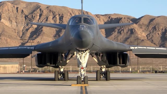 lancer takeoff and landing at nellis air force base, nevada. - us airforce stock videos & royalty-free footage